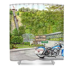 Shower Curtain featuring the painting Thunder In Johnstown by Albert Puskaric