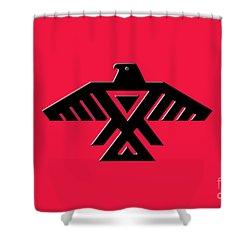 Thunderbird Emblem Of The Anishinaabe People Black On Red Version Shower Curtain