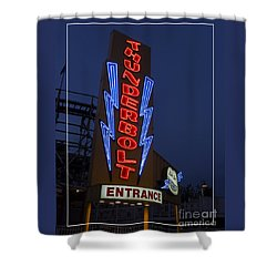 Thunderbolt Rollercoaster Neon Sign Shower Curtain by Edward Fielding