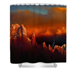 Thunderstorm Over Sedona Shower Curtain by Dale Jackson