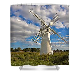 Thurne Dyke Windpump On The Norfolk Broads Shower Curtain by Louise Heusinkveld