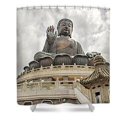 Tian Tan Buddha Shower Curtain by David Gn