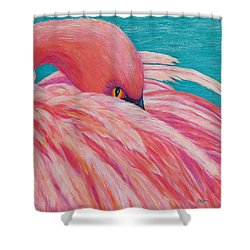 Shower Curtain featuring the painting Tickled Pink by Susan DeLain