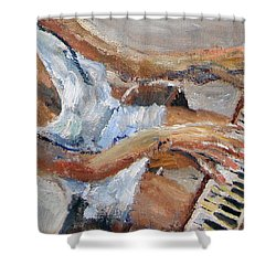 Shower Curtain featuring the painting Tickling The Ivories by Michael Helfen