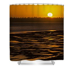 Shower Curtain featuring the photograph Tidal Pattern At Sunset by Jeff Goulden