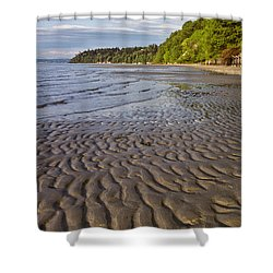 Shower Curtain featuring the photograph Tidal Pattern In The Sand by Jeff Goulden