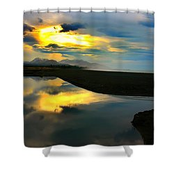 Shower Curtain featuring the photograph Tidal Pond Sunset New Zealand by Amanda Stadther