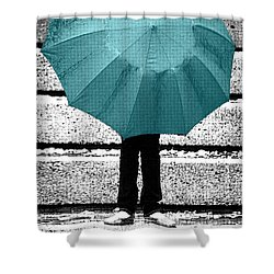 Tiffany Blue Umbrella Shower Curtain by Lisa Knechtel