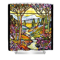Tiffany Landscape Window Shower Curtain by Donna Walsh