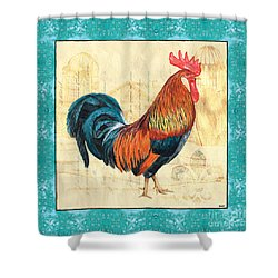 Tiffany Rooster 1 Shower Curtain by Debbie DeWitt