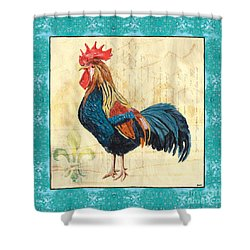 Tiffany Rooster 2 Shower Curtain by Debbie DeWitt
