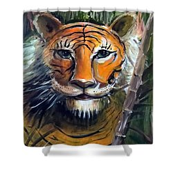 Shower Curtain featuring the painting Tiger by Bernadette Krupa