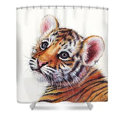 Tiger Cub Watercolor Painting Shower Curtain