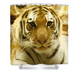 Shower Curtain featuring the digital art Tiger Eyes by Erika Weber