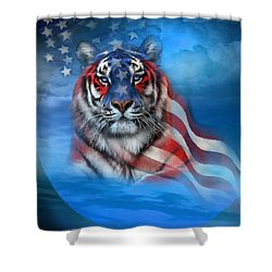 Shower Curtain featuring the mixed media Tiger Flag by Carol Cavalaris