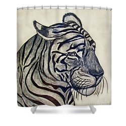 Tiger II Shower Curtain by Debbie Portwood