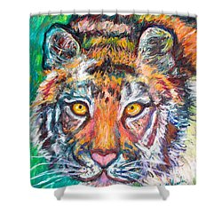 Tiger Lean Shower Curtain by Kendall Kessler