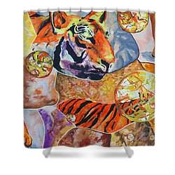 Shower Curtain featuring the painting Tiger Mosaic by Daniel Janda