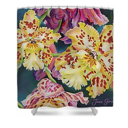 Shower Curtain featuring the painting Tiger Orchid by Jane Girardot