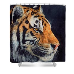 Tiger Profile Shower Curtain by David Stribbling