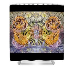 Tiger Spirits In The Garden Of The Buddha Shower Curtain by Joseph J Stevens