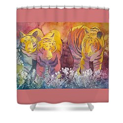 Shower Curtain featuring the painting Tiger Trio by Nancy Jolley