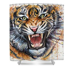 Tiger Watercolor Portrait Shower Curtain by Olga Shvartsur