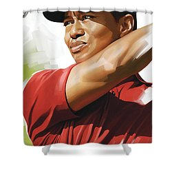 Tiger Woods Artwork Shower Curtain by Sheraz A