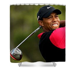 Tiger Woods Golf Shower Curtain by Lanjee Chee