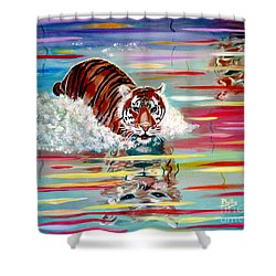 Shower Curtain featuring the painting Tigers Crossing by Phyllis Kaltenbach