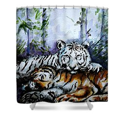 Shower Curtain featuring the painting Tigers-mother And Child by Harsh Malik