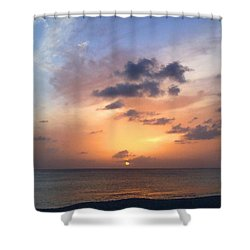 Tiki Beach Caribbean Sunset Shower Curtain