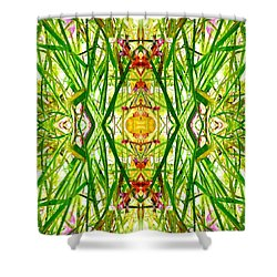 Tiki Idols In The Grass  Shower Curtain