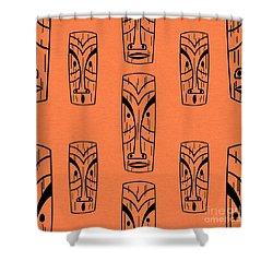 Tiki On Orange Pillow Shower Curtain