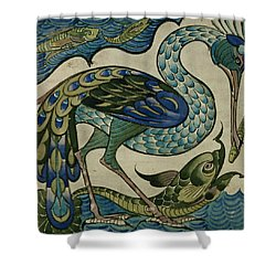 Tile Design Of Heron And Fish Shower Curtain by Walter Crane