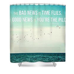Time Flies Shower Curtain by Lisa Russo