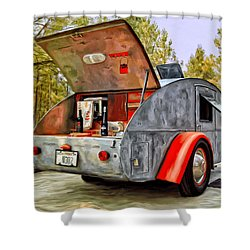 Time For Camping Shower Curtain