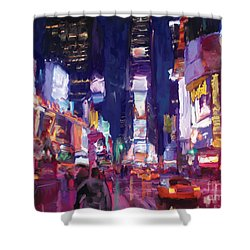 Shower Curtain featuring the painting Amy's Time Square In The Rain by Tim Gilliland