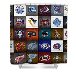 Time To Lace Up The Skates Recycled Vintage Hockey League Team Logos License Plate Art Shower Curtain by Design Turnpike