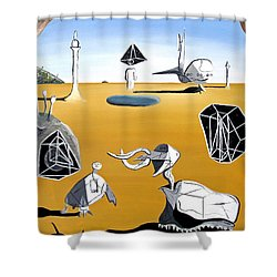 Shower Curtain featuring the painting Time Travel by Ryan Demaree