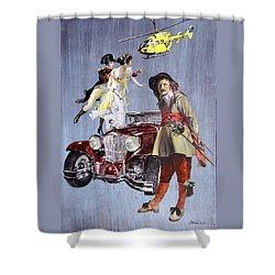 Time Travel With Oldtimer Shower Curtain by Taidakov Nikolai