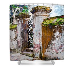 Shower Curtain featuring the photograph Brick Wall Charleston South Carolina by Vizual Studio