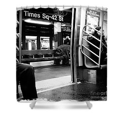 Times Square - 42nd St Shower Curtain by James Aiken