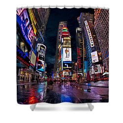 Times Square New York City The City That Never Sleeps Shower Curtain by Susan Candelario