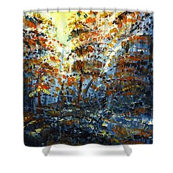 Shower Curtain featuring the painting Tim's Autumn Trees by Holly Carmichael