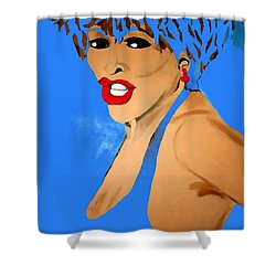 Tina Turner Fierce Blue 2 Shower Curtain