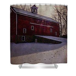 Shower Curtain featuring the photograph Tinicum Barn In Winter by Debra Fedchin