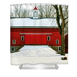 Tinicum Barn In Winter II Shower Curtain