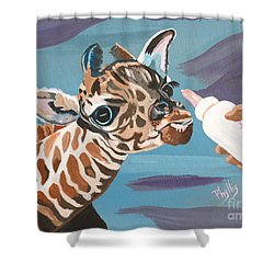 Tiny Baby Giraffe With Bottle Shower Curtain