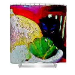 Tiny Black Kitten Shower Curtain by Lisa Kaiser